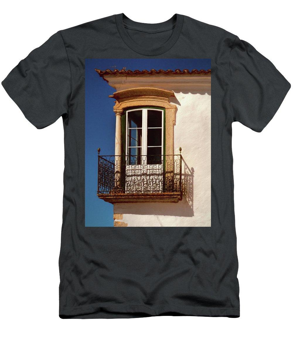 Portugal Men's T-Shirt (Athletic Fit) featuring the photograph Dream Corner Windows by Claude LeTien