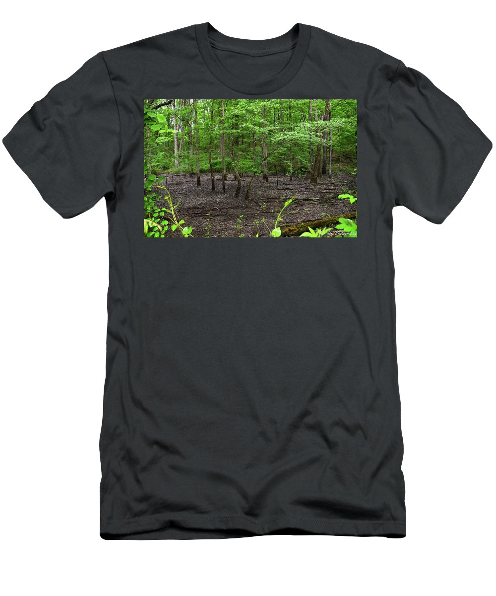 Died Up Pons Men's T-Shirt (Athletic Fit) featuring the photograph Dried Up Pond by Soni Macy
