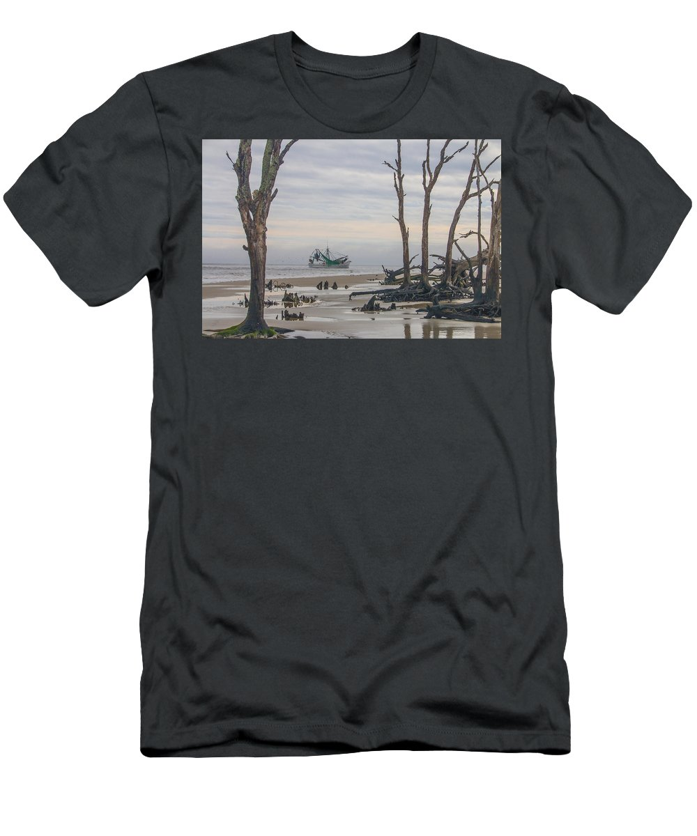 Jekyll Island Men's T-Shirt (Athletic Fit) featuring the photograph Driftwood Shrimper by Christina Alcantara