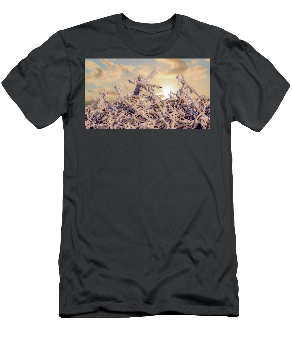 Driftwood Men's T-Shirt (Athletic Fit) featuring the photograph Driftwood Sunset by Janal Koenig