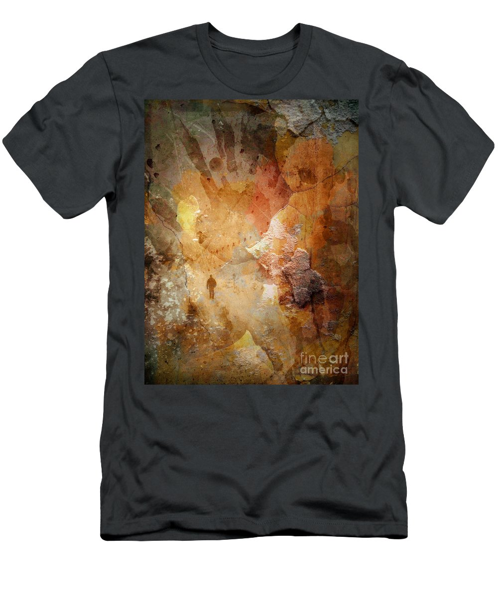 Depression Men's T-Shirt (Athletic Fit) featuring the photograph Drinking Shadows From A Brown Paper Bag And Stumbling Over The Curb Into Night by Tara Turner