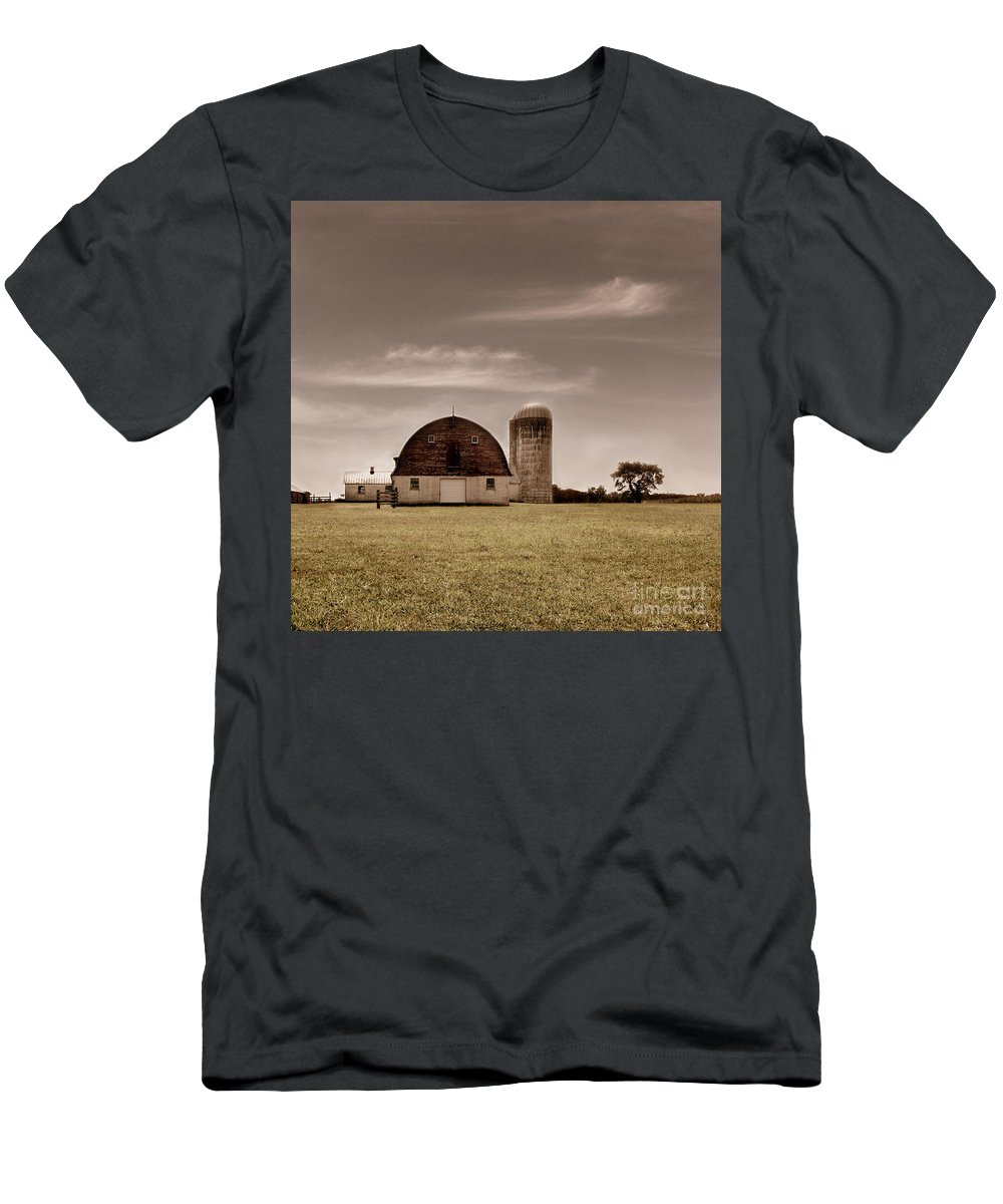 Farm Men's T-Shirt (Athletic Fit) featuring the photograph Dry Earth Crumbles Between My Fingers And I Look To The Sky For Rain by Dana DiPasquale