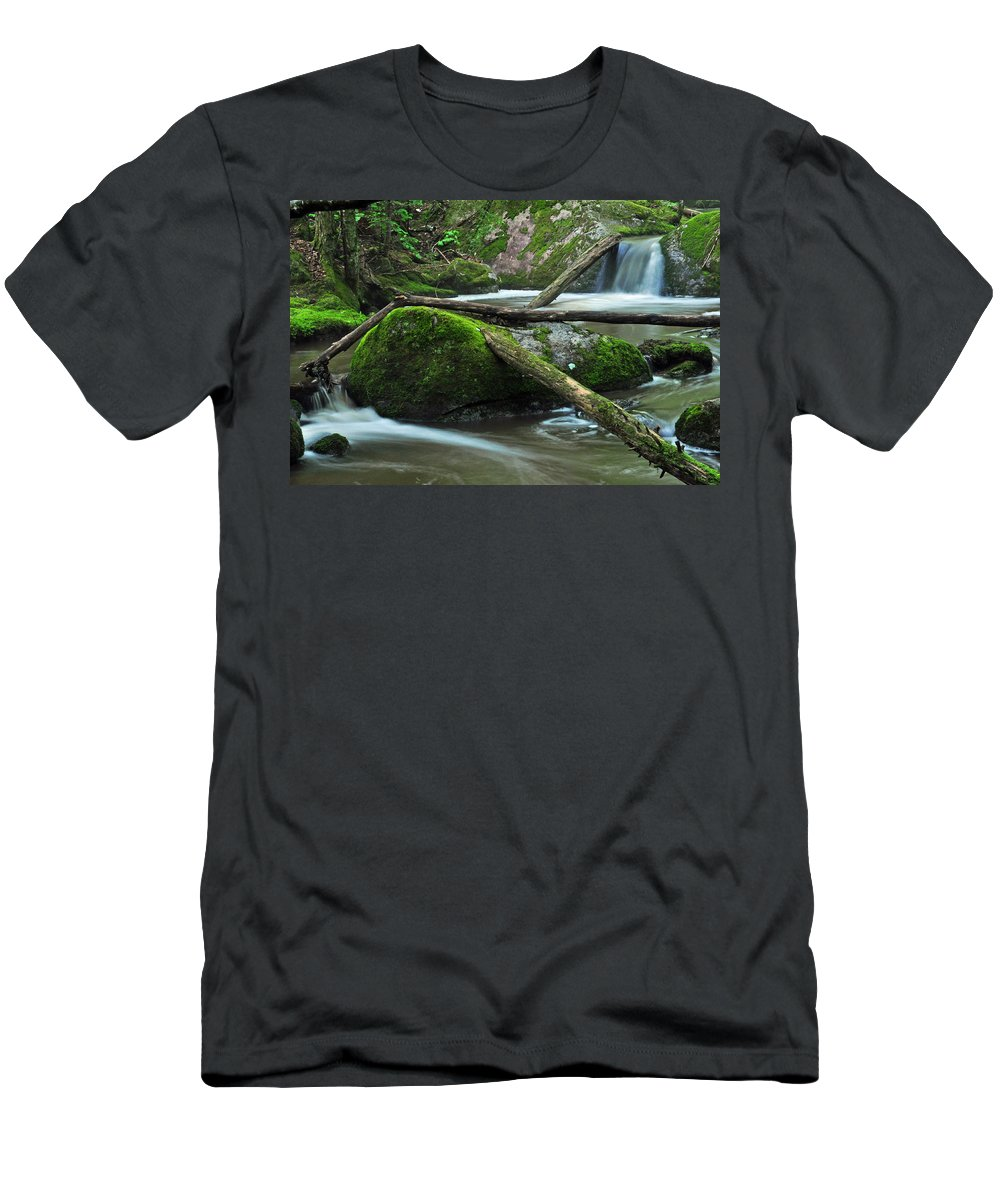 Stream Men's T-Shirt (Athletic Fit) featuring the photograph Dual Falls 2 by Glenn Gordon
