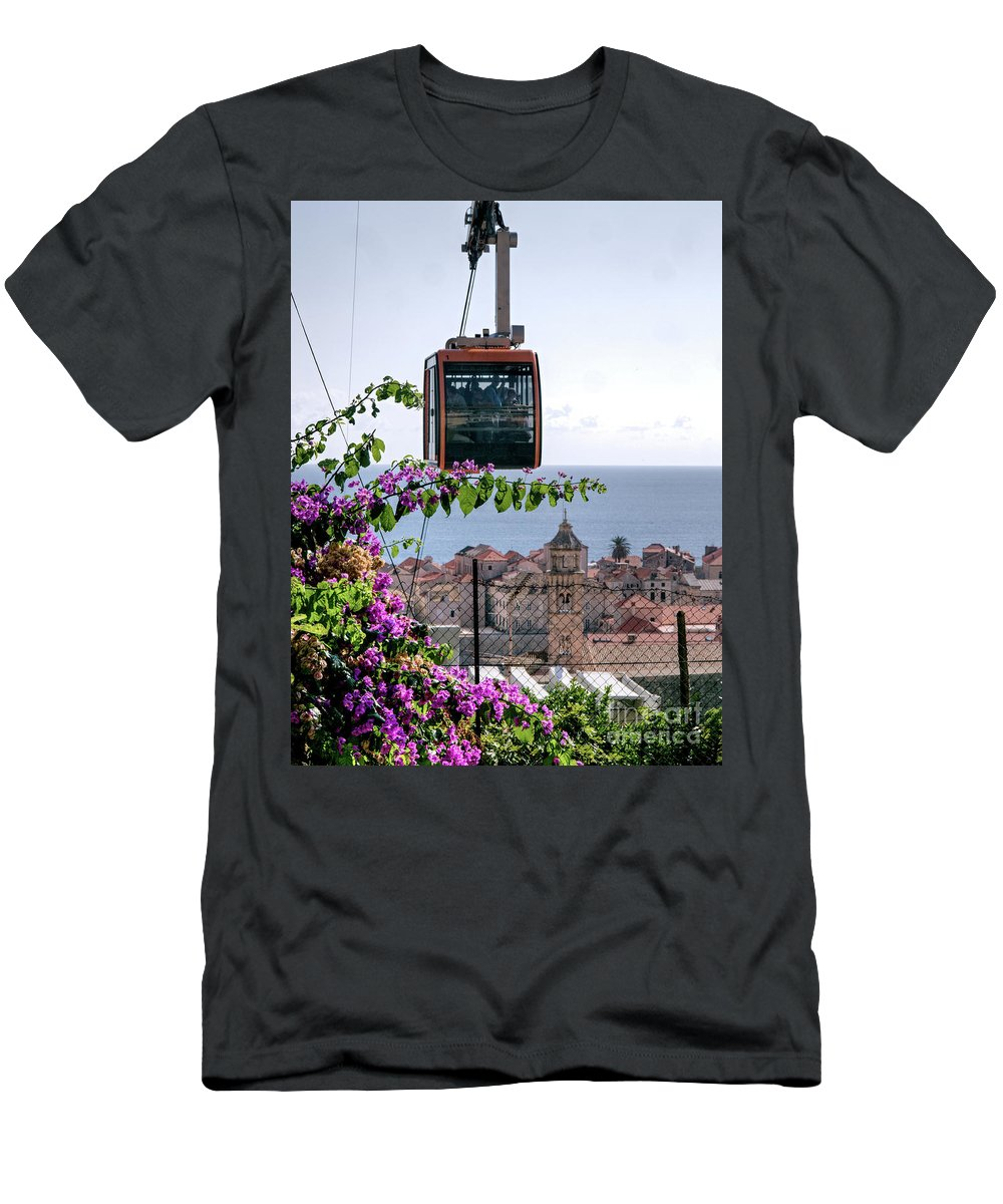 Dubrovnik Men's T-Shirt (Athletic Fit) featuring the photograph Dubrovniks Cable Car by Lance Sheridan-Peel