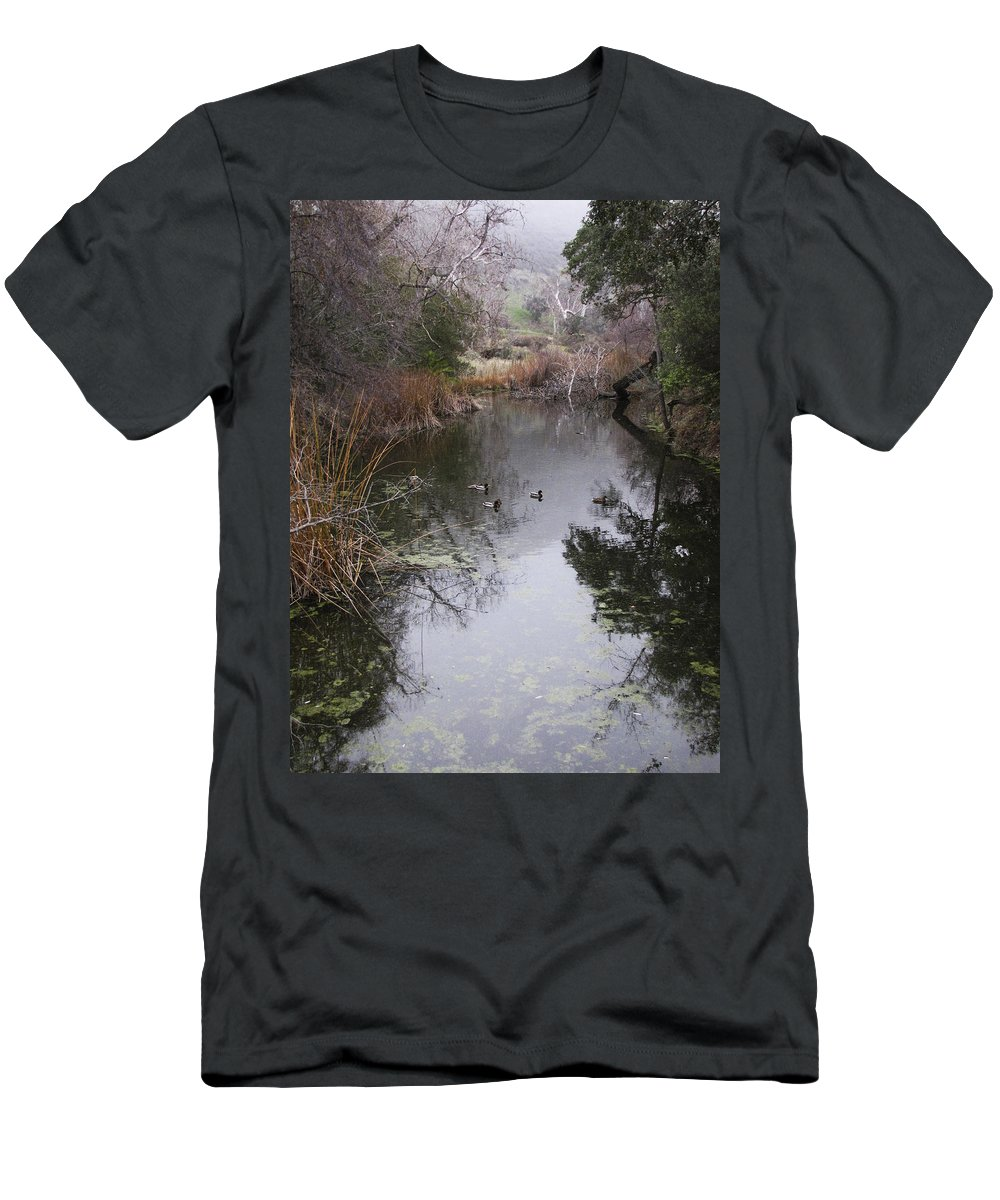 Ducks Men's T-Shirt (Athletic Fit) featuring the photograph Ducks From The Bridge by Karen W Meyer