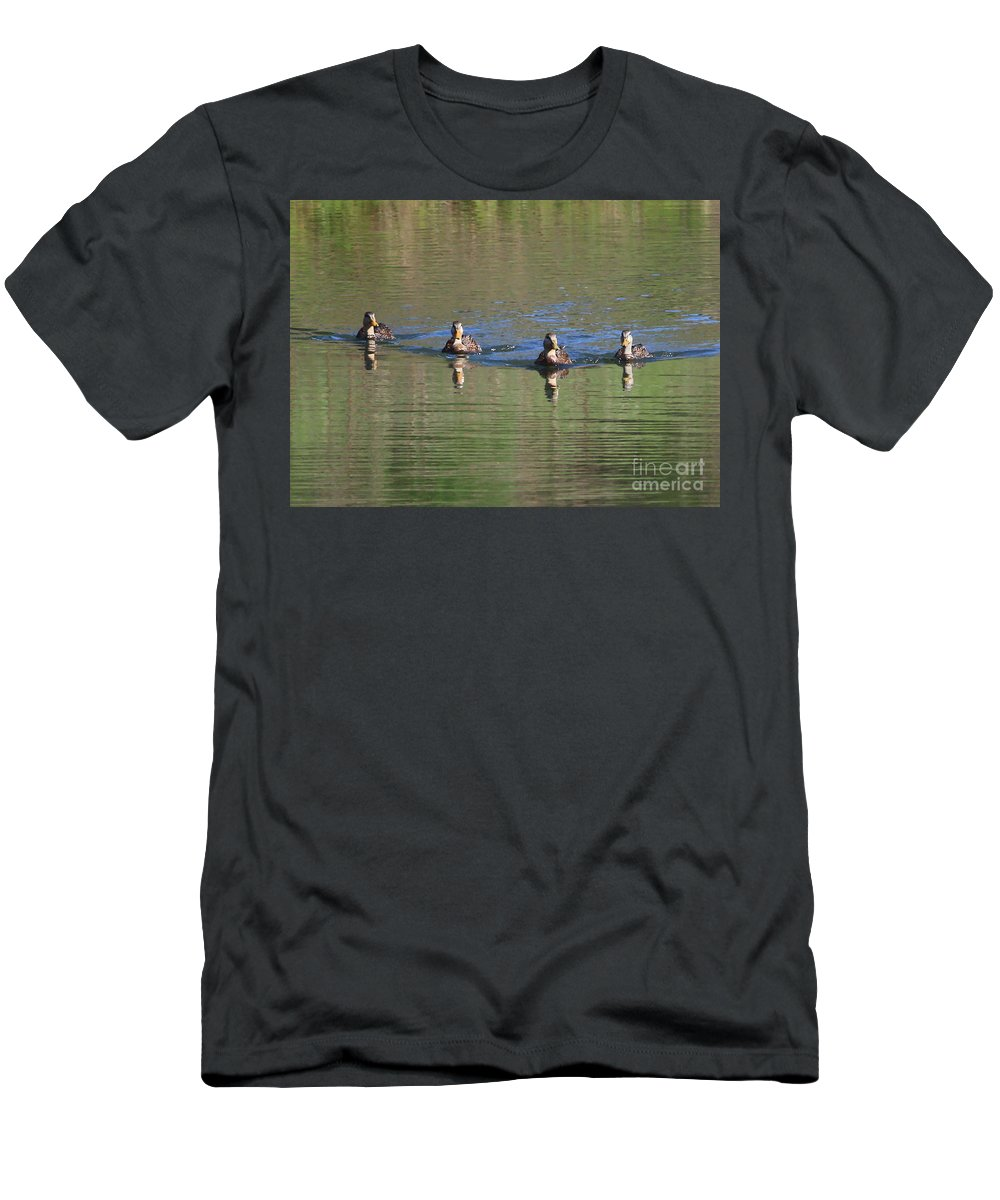 Ducks Men's T-Shirt (Athletic Fit) featuring the photograph Ducks In A Row by Carol Groenen