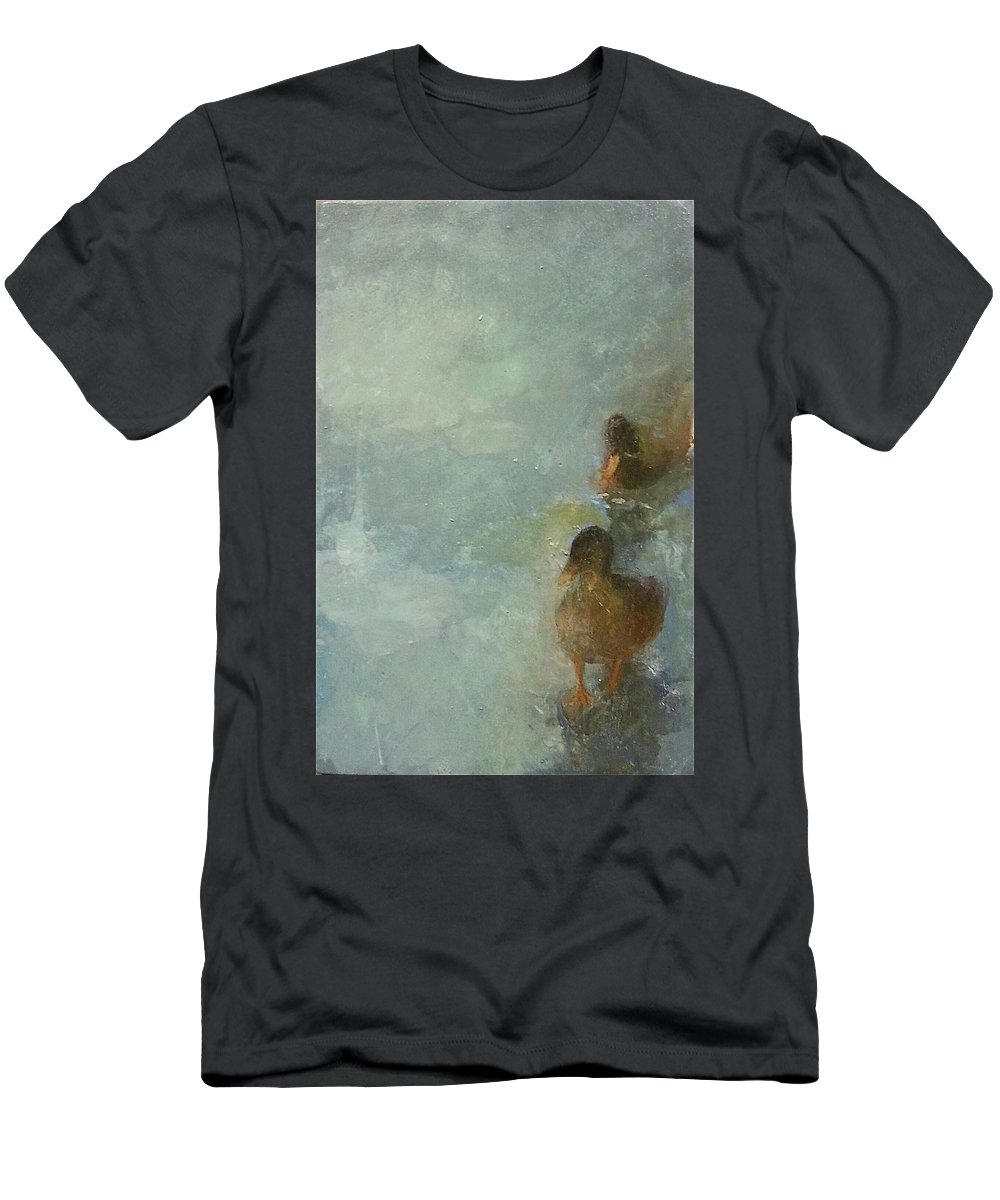 Landscape Men's T-Shirt (Athletic Fit) featuring the painting Ducks On Ice by Anna Patrou