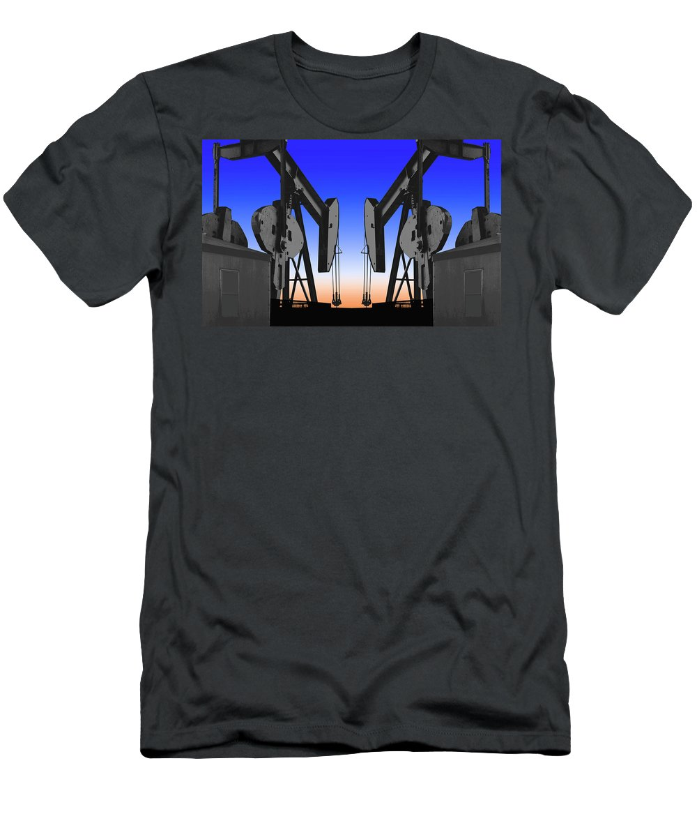 Oil Gas Industry Pump Jack Well Oilfield American America Blue Black Production Platform Drilling Rig Geology Exploration Pipeline Refining Up Down Mid Stream Abstract Petroleum Petrochemical Gas Drill Driller Technology Digital Manipulation Texas Men Decor Art Fine Office Industrial Wells Pumps Graphic Photograph Photo Image Arty Oilwell Offshore Energy Pumpjack Barrel Art Crude Oilman Toolpusher Men's T-Shirt (Athletic Fit) featuring the photograph Dueling Oil Well Pumps by Dennis Thompson