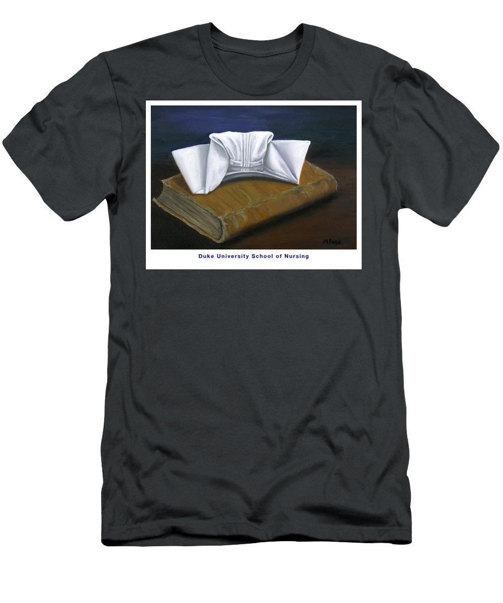 Duke University School Of Nursing Men's T-Shirt (Athletic Fit) featuring the painting Duke University School Of Nursing by Marlyn Boyd