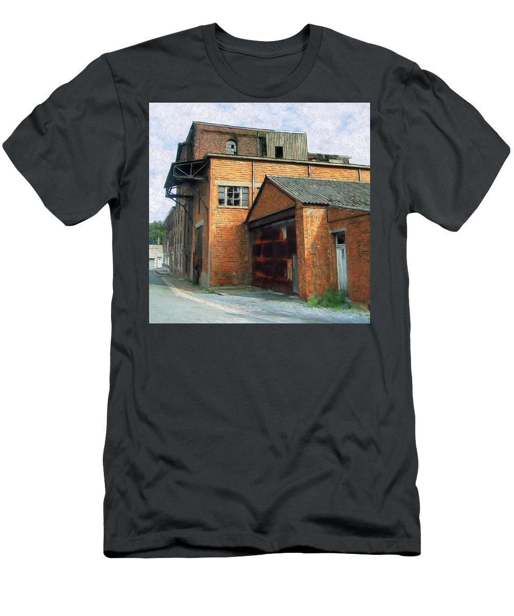 Old Foundry Building Men's T-Shirt (Athletic Fit) featuring the painting Dunkirk Foundry by Dominic Piperata