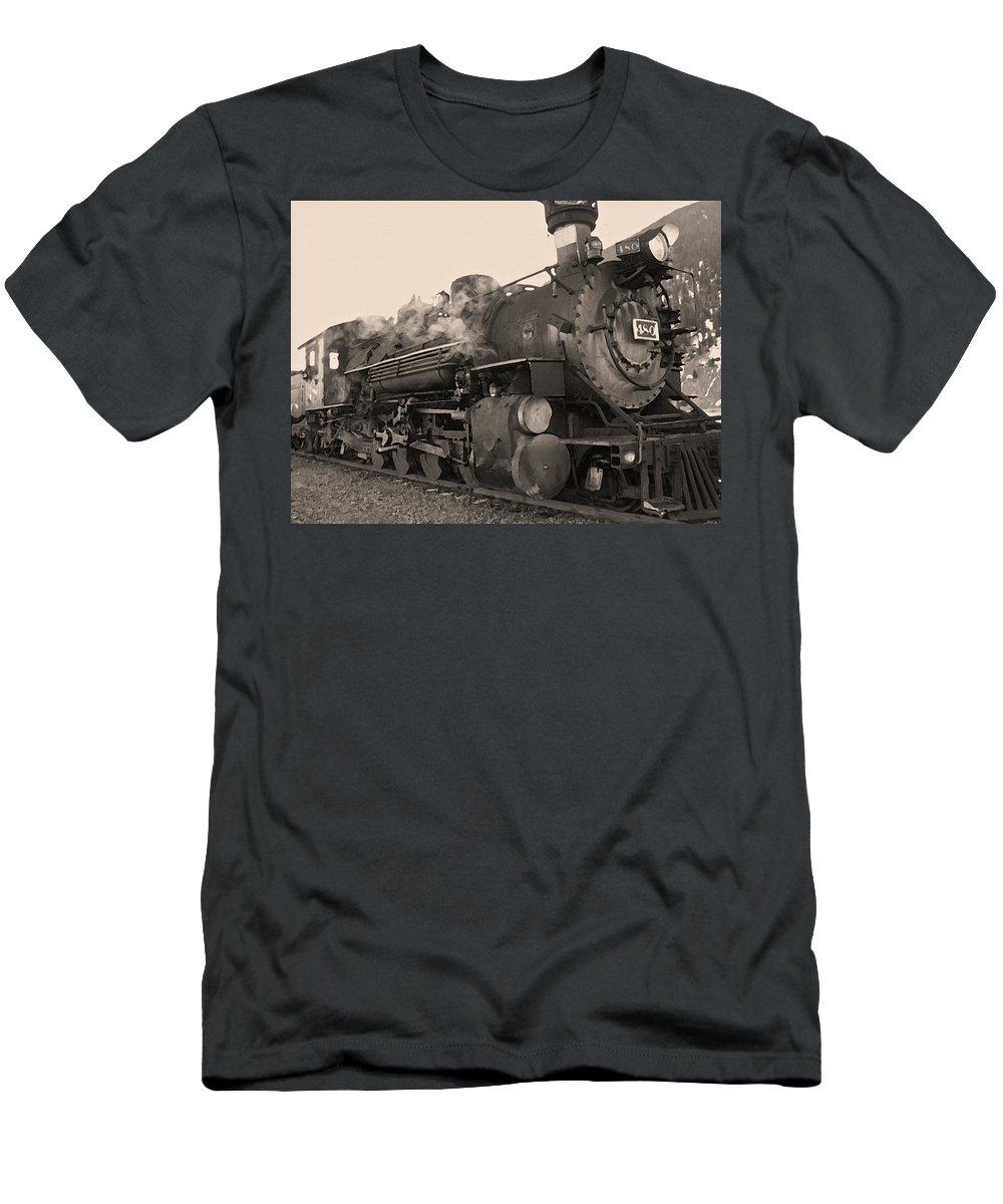 Durango Men's T-Shirt (Athletic Fit) featuring the photograph Durango Silverton 480 Sepia by Ernie Echols