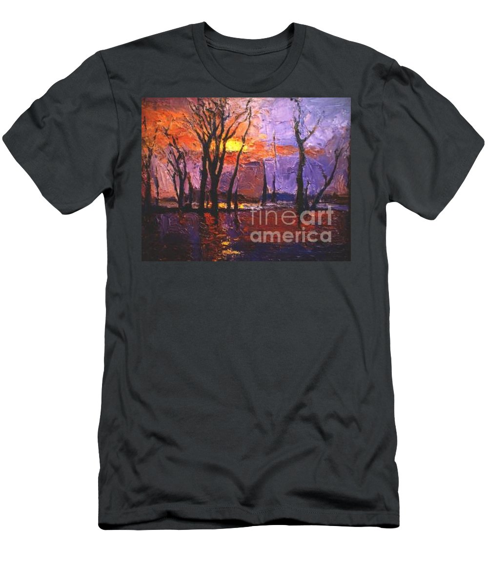 Dusk T-Shirt featuring the painting Dusk by Meihua Lu