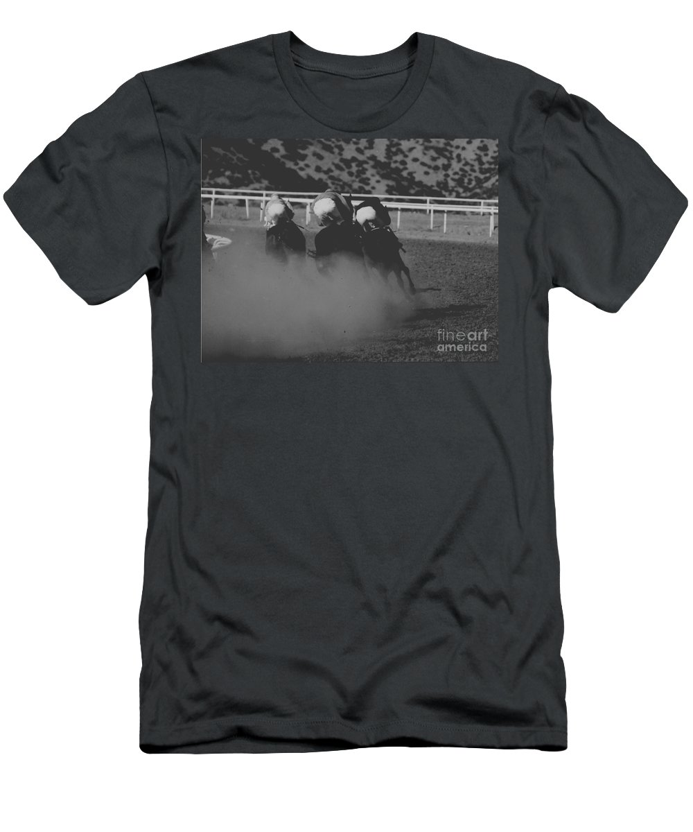 Horse Men's T-Shirt (Athletic Fit) featuring the photograph Dust And Butts by Kathy McClure