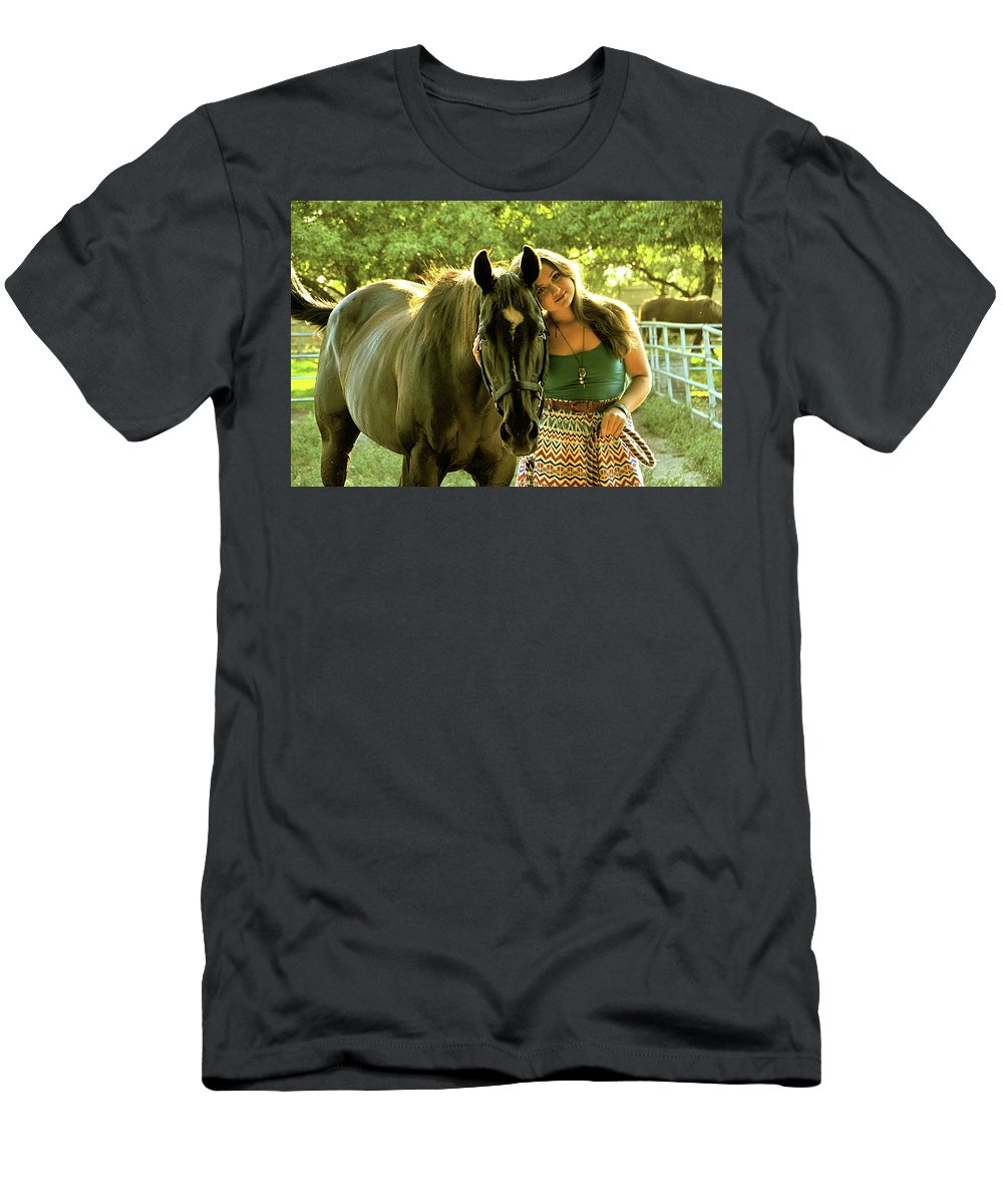Horses Men's T-Shirt (Athletic Fit) featuring the photograph Dylly And Lizzy by Valerie Rosen