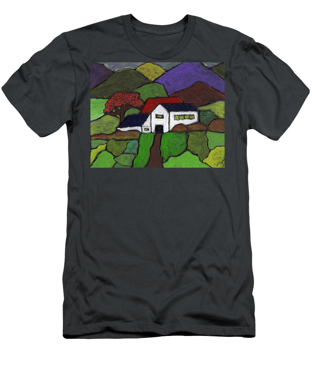 Farm Men's T-Shirt (Athletic Fit) featuring the painting Early Autumn by Wayne Potrafka