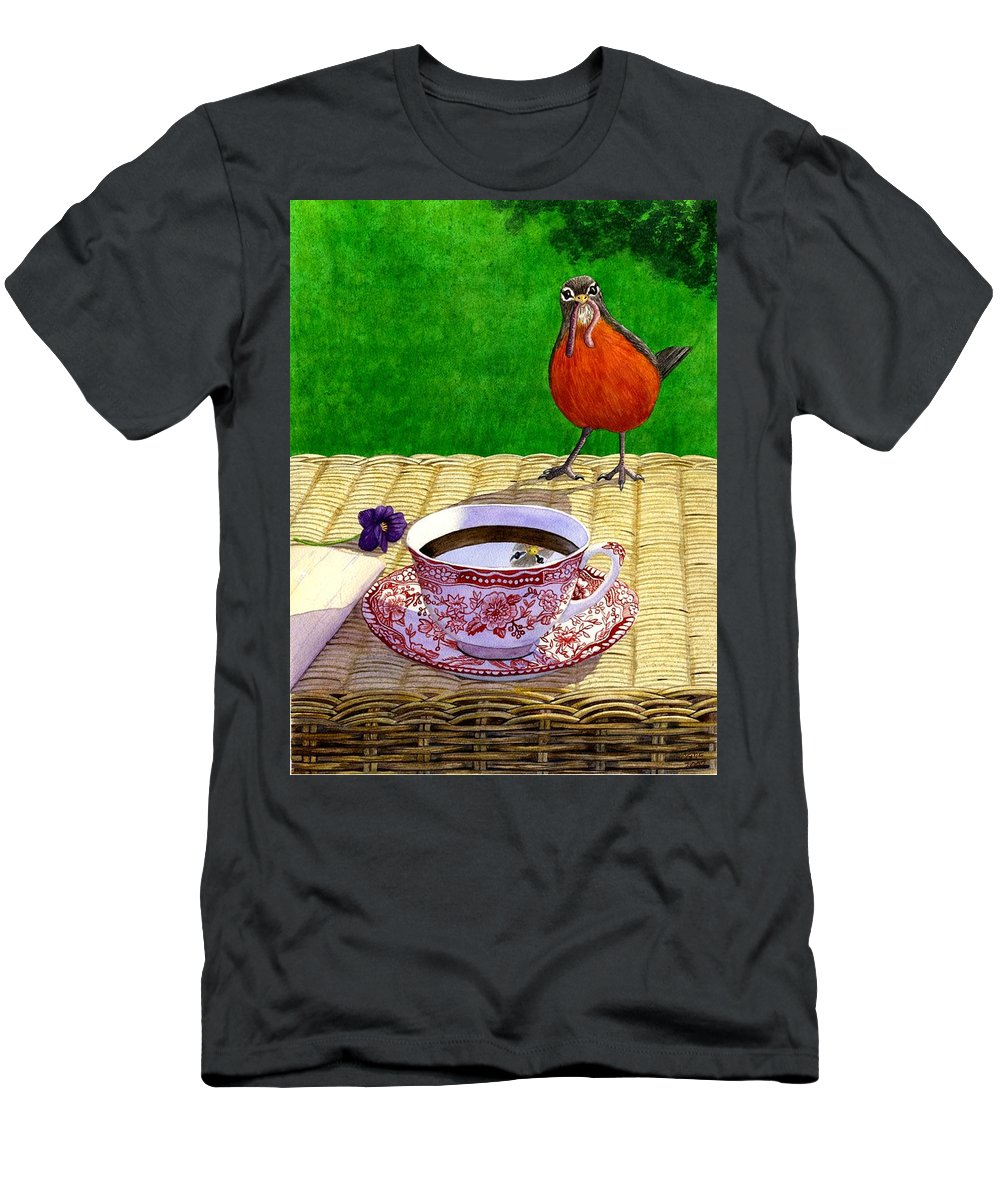 Robin Men's T-Shirt (Athletic Fit) featuring the painting Early Bird by Catherine G McElroy