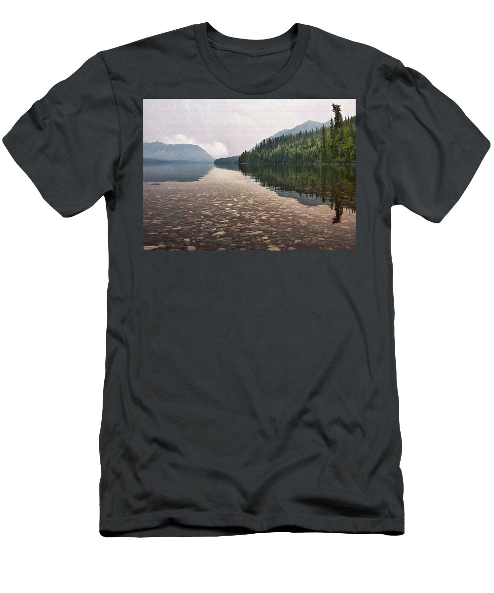Landscape Men's T-Shirt (Athletic Fit) featuring the digital art Early Morning On Lake Mcdonald II by Sharon Foster