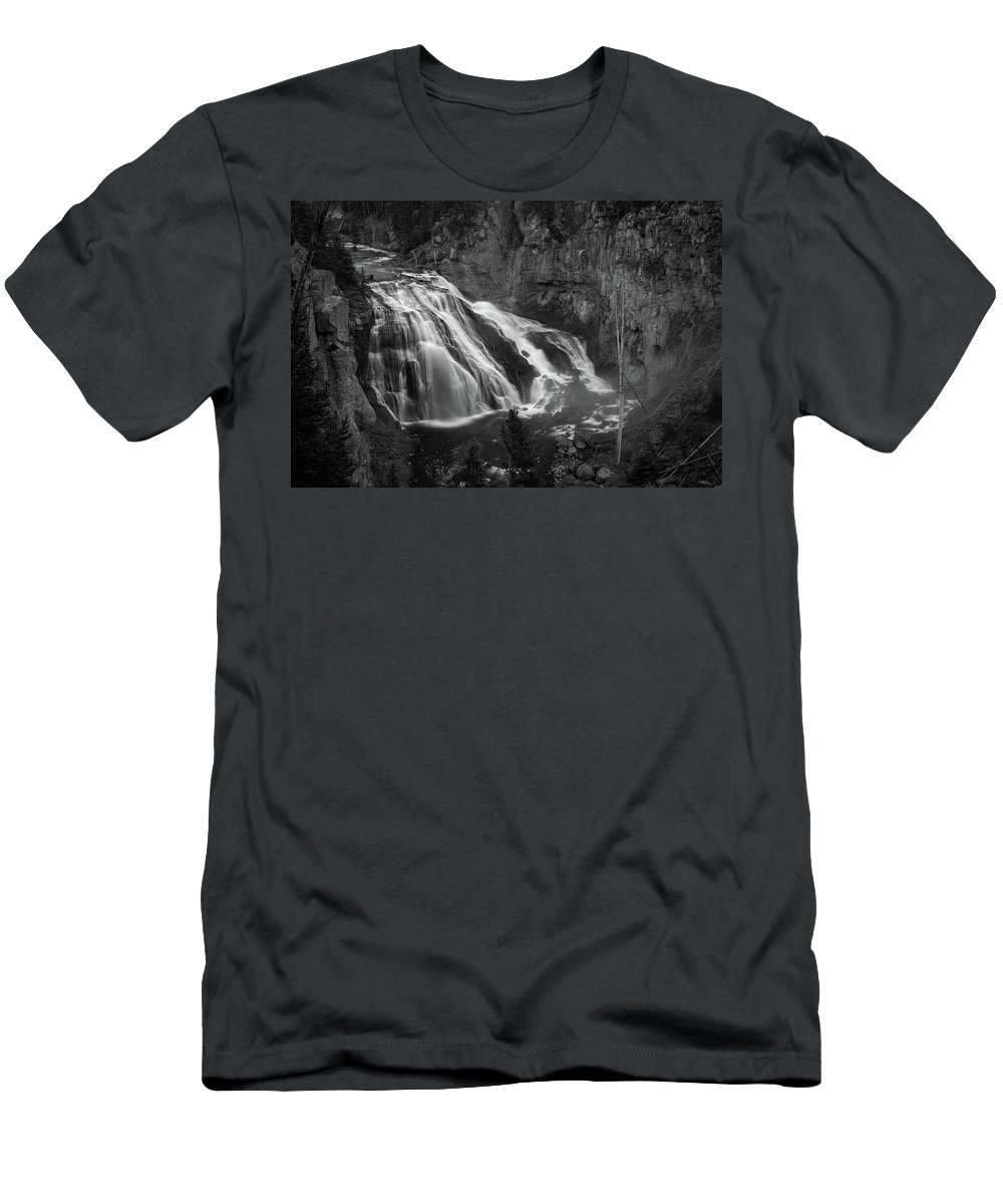 Waterfalls Men's T-Shirt (Athletic Fit) featuring the photograph Early Morning Steam Falls by Bryant Coffey