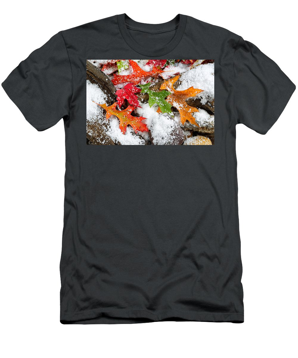 Autumn Men's T-Shirt (Athletic Fit) featuring the photograph Early Snow During Autumn by Thomas Baker
