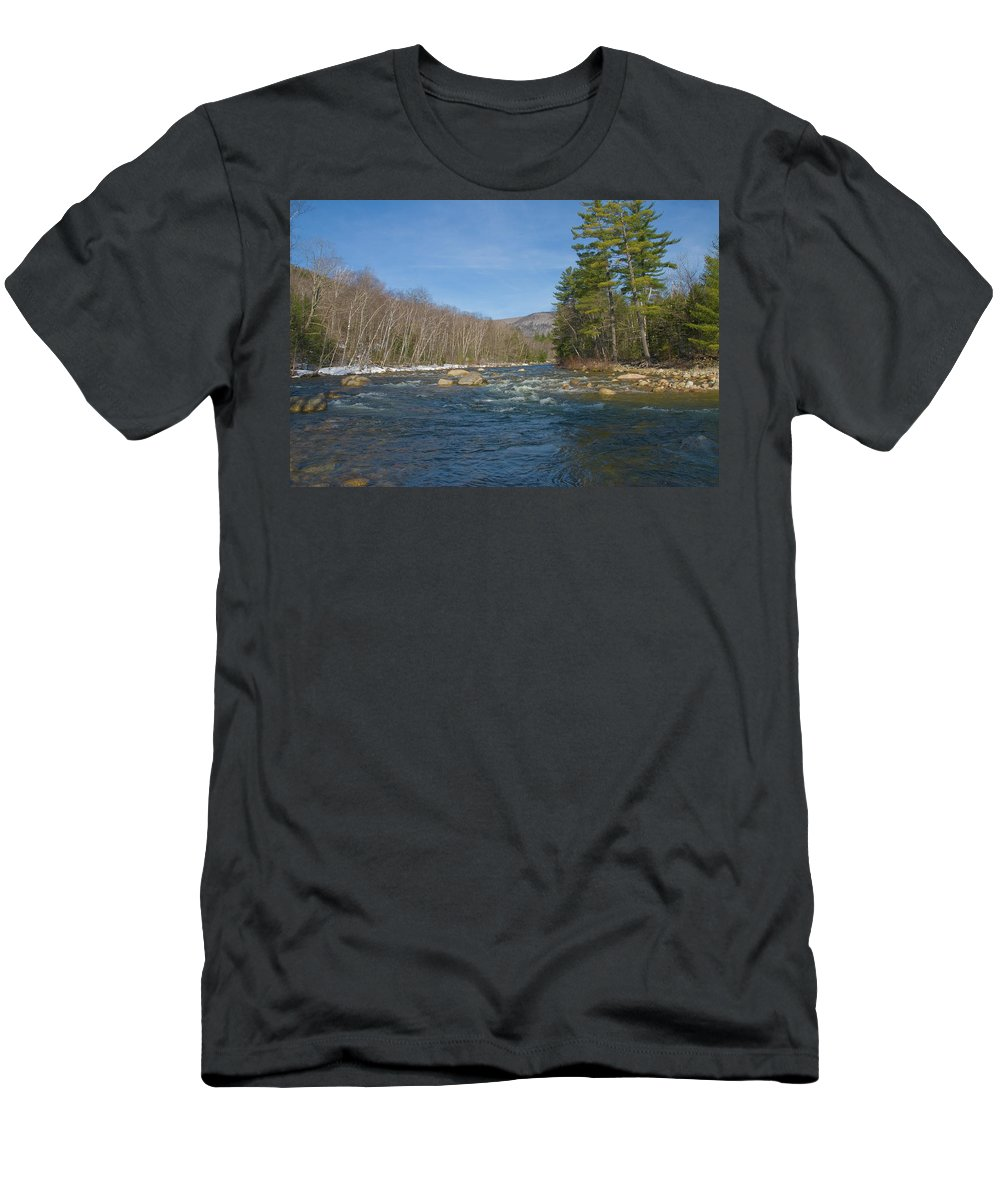 white Mountains Men's T-Shirt (Athletic Fit) featuring the photograph Early Spring by Paul Mangold