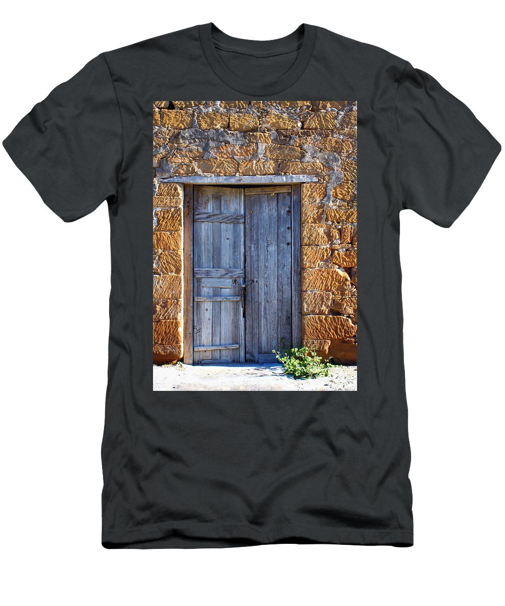Door Men's T-Shirt (Athletic Fit) featuring the photograph Earthen Colors by Marilyn Hunt