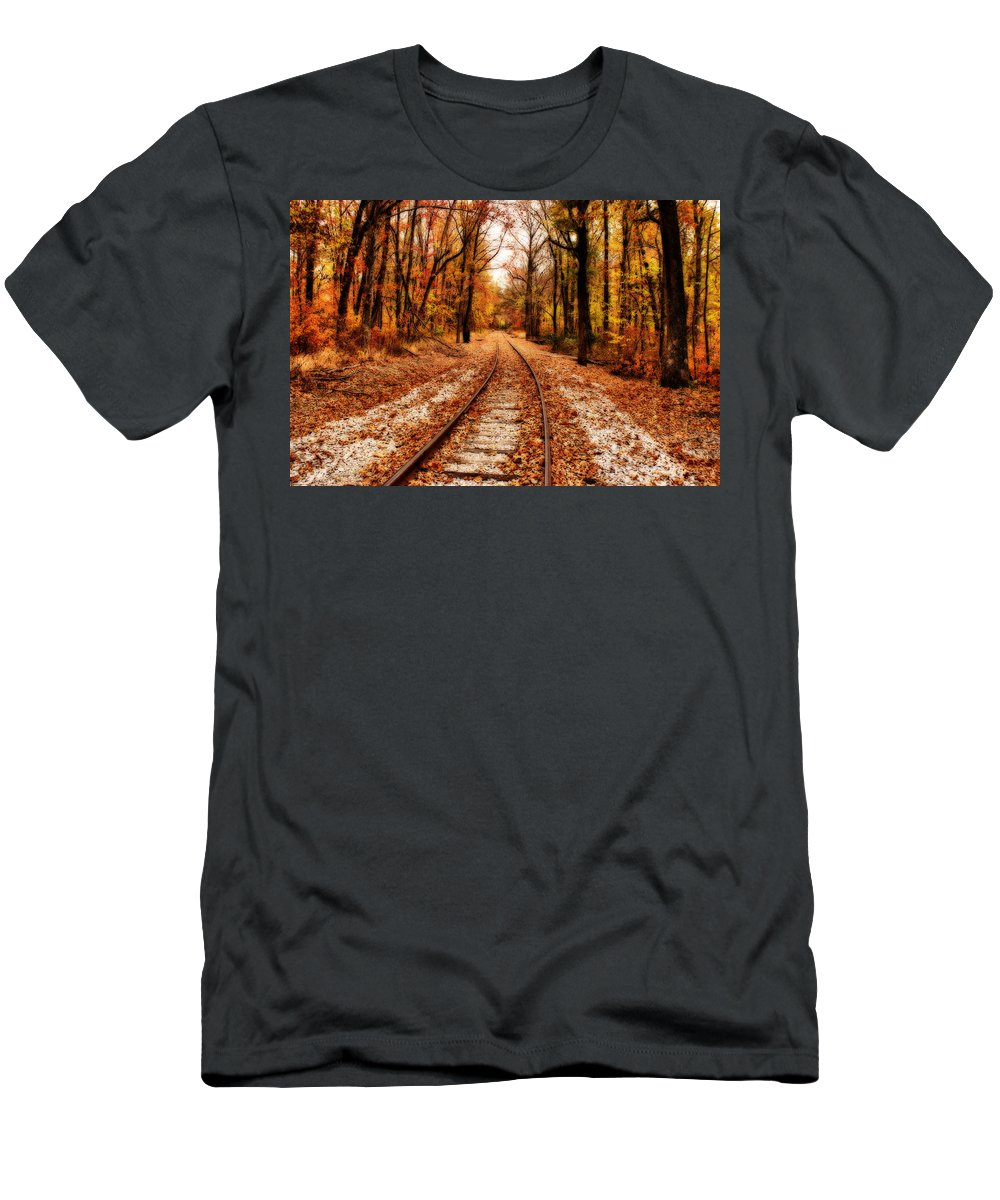 Scenery Men's T-Shirt (Athletic Fit) featuring the photograph Eastbound by Sandy Keeton