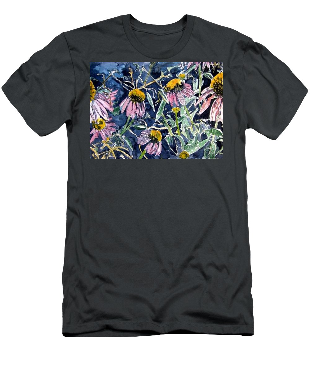 Echinacea Men's T-Shirt (Athletic Fit) featuring the painting Echinacea Cone Flower Art by Derek Mccrea