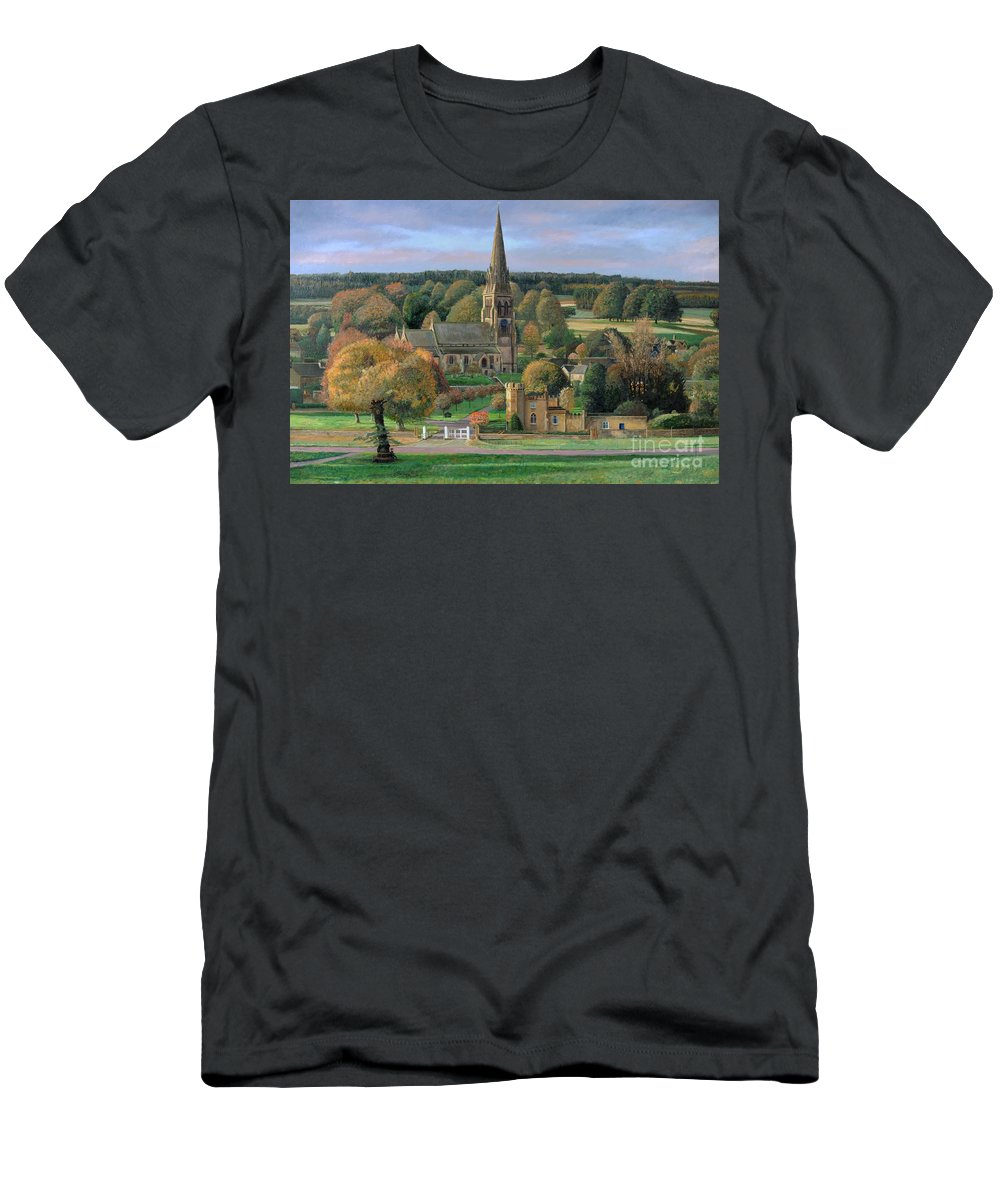 Peak District; Pig; Countryside; English Landscape; Architecture; Church; Village; Estate; Landscape; Chatsworth; Edensor; Chatsworth Park; Tree; Trees; Man Sitting On Bench Men's T-Shirt (Athletic Fit) featuring the painting Edensor - Chatsworth Park - Derbyshire by Trevor Neal