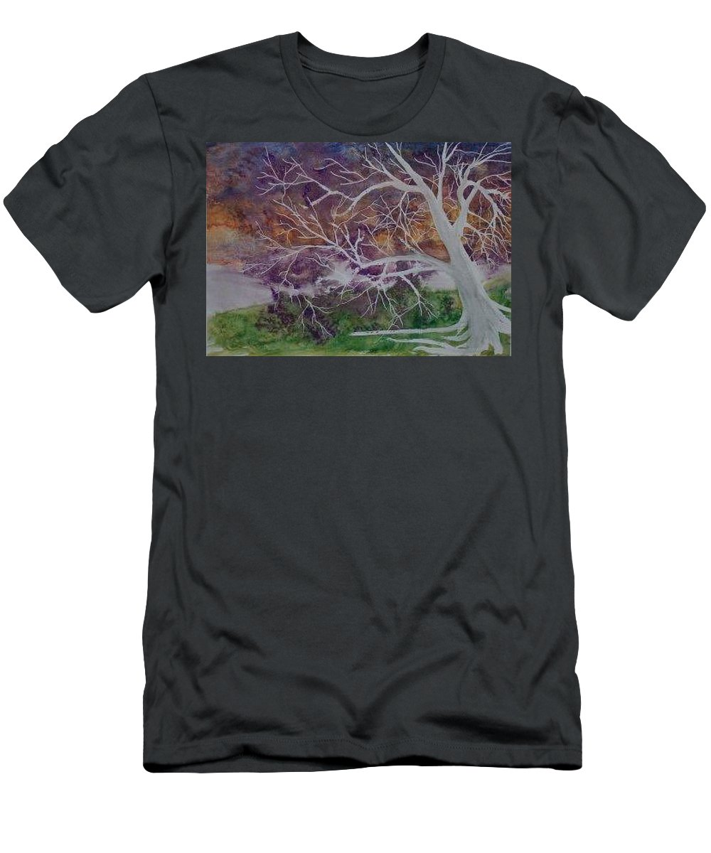 Watercolor Men's T-Shirt (Athletic Fit) featuring the painting Eerie Gothic Landscape Fine Art Surreal Print by Derek Mccrea