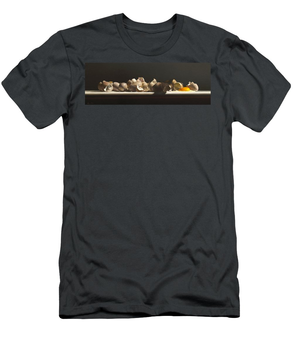 Still Life Men's T-Shirt (Athletic Fit) featuring the painting Egg With Shells No.3 by Lawrence Preston