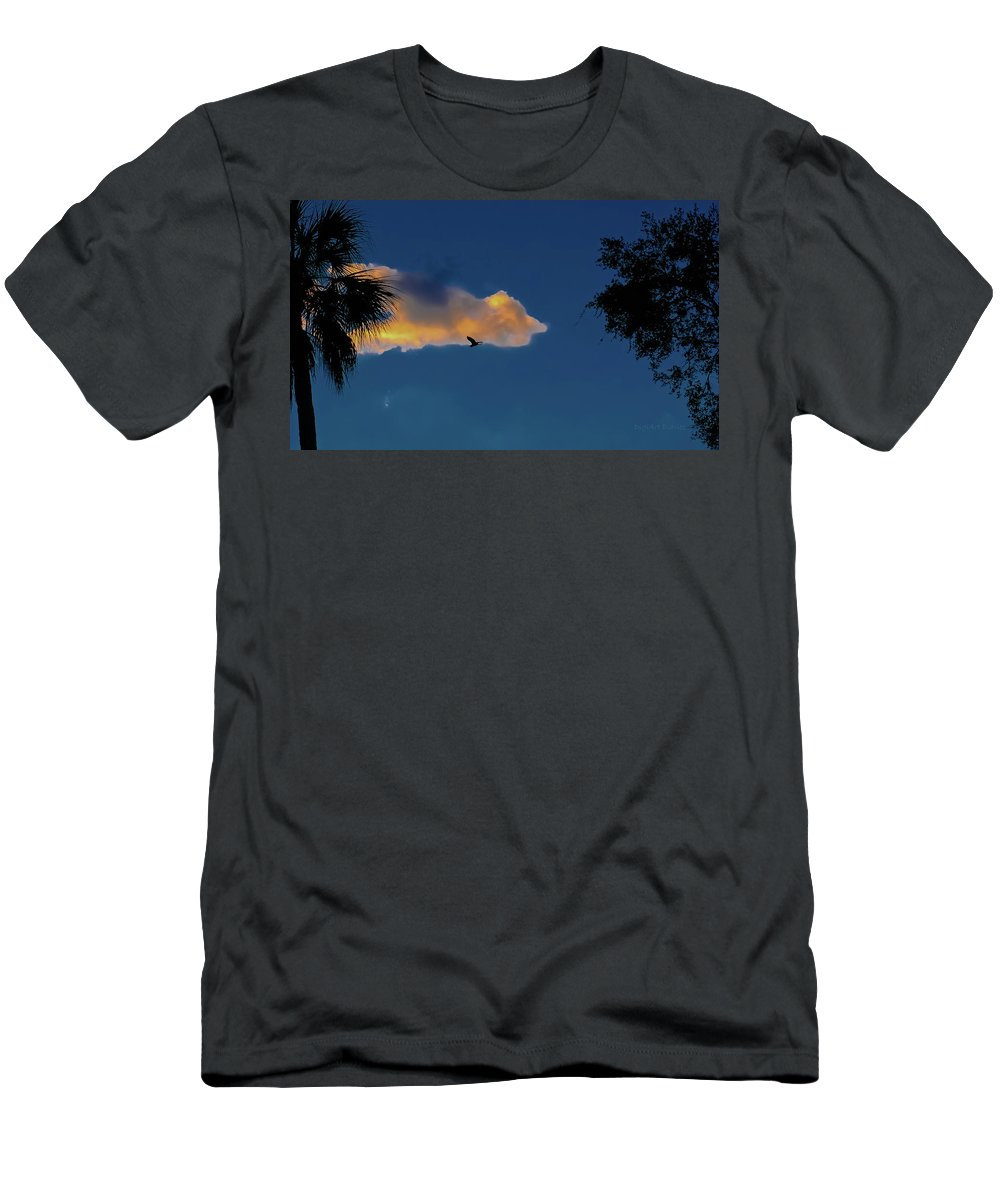Sunset Men's T-Shirt (Athletic Fit) featuring the photograph Egressing Egret by DigiArt Diaries by Vicky B Fuller