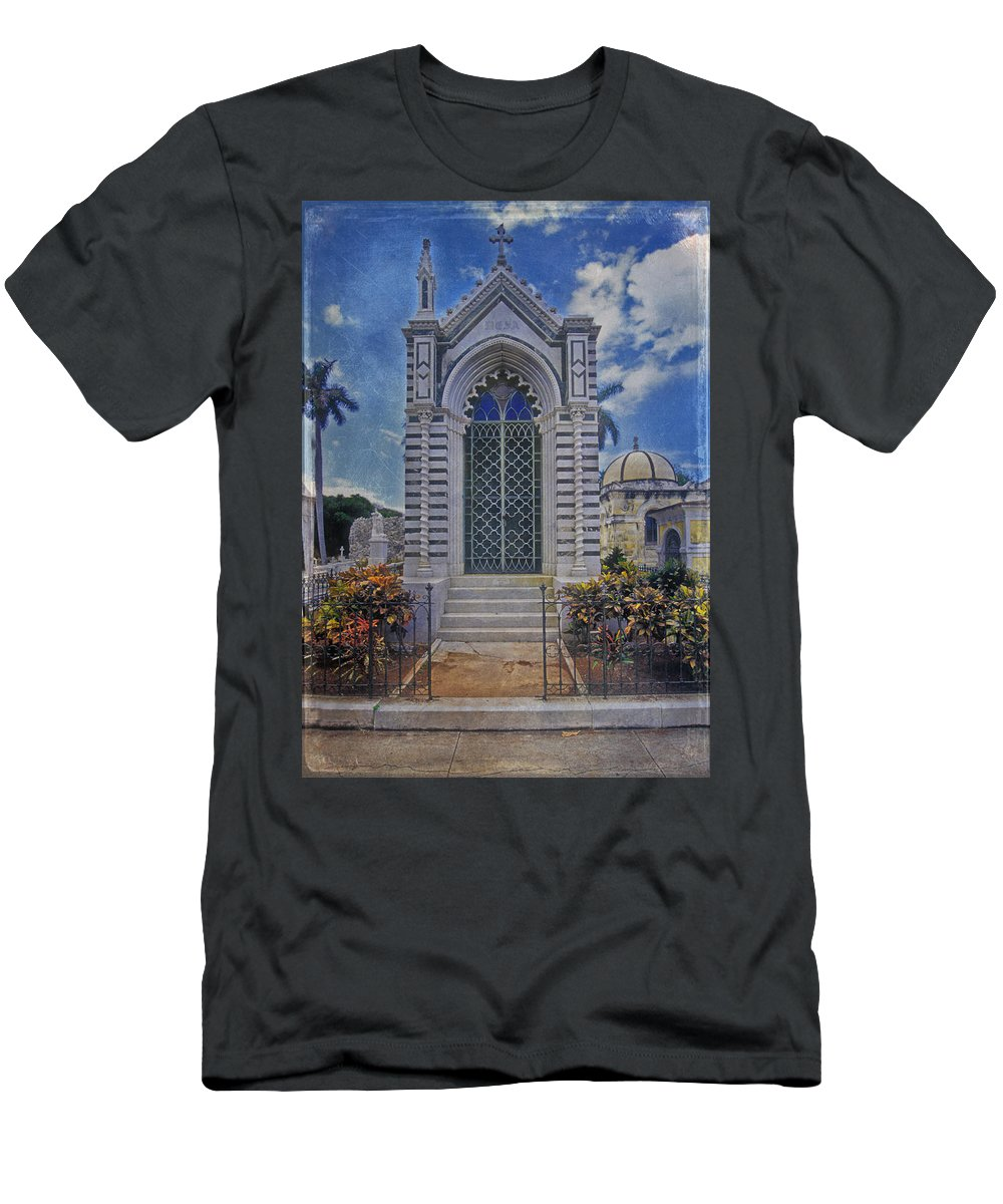 Elaborate Men's T-Shirt (Athletic Fit) featuring the photograph Elaborate Mausoleum Colon Cemetery Havana Cuba Espada Cemetery by David Zanzinger
