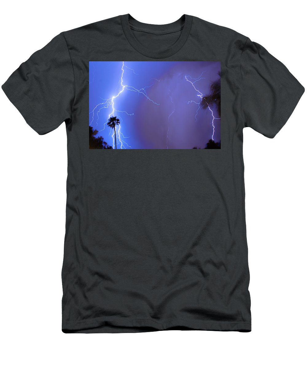 Lightning Men's T-Shirt (Athletic Fit) featuring the photograph Electric Night by James BO Insogna
