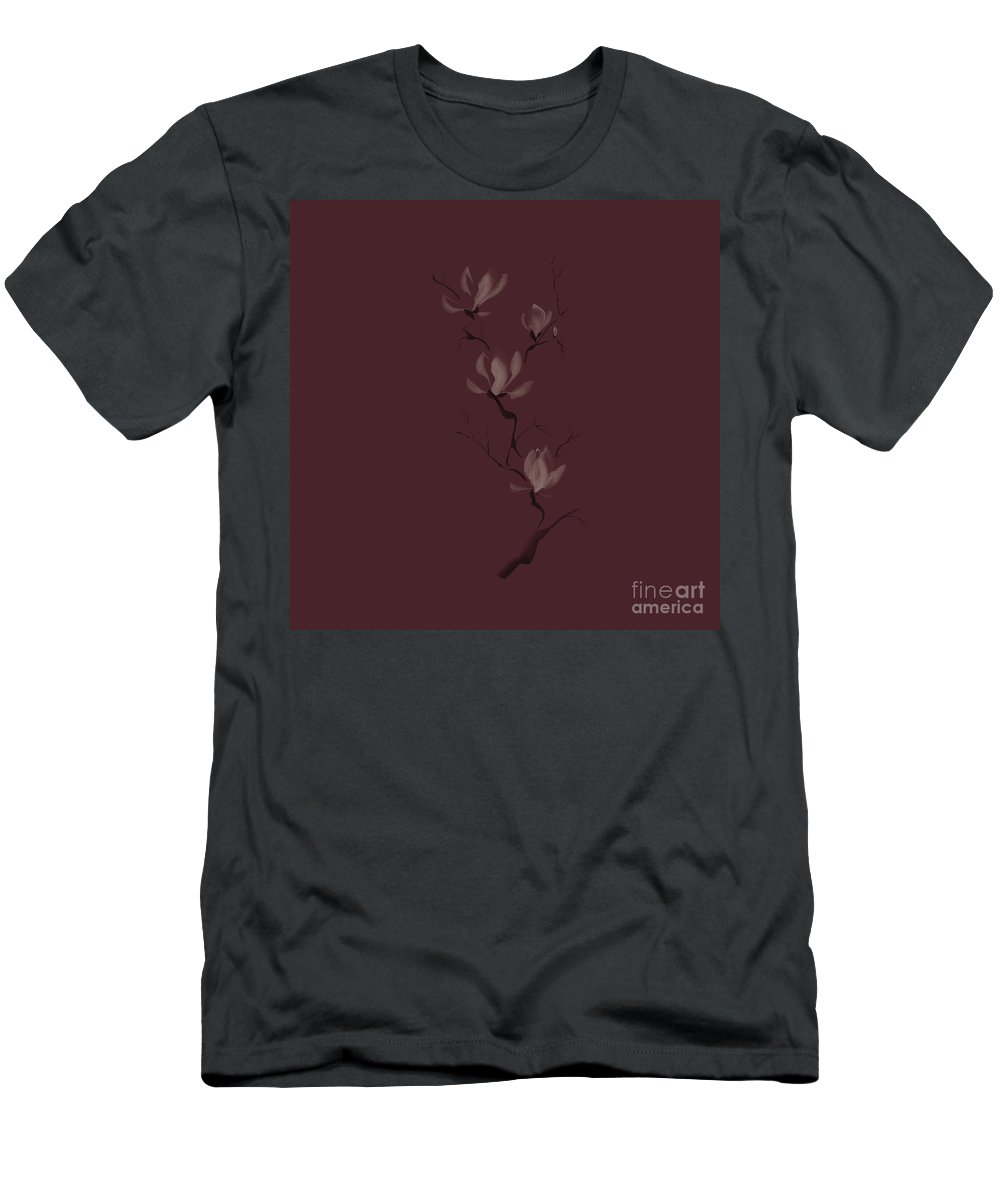 Flower Men's T-Shirt (Athletic Fit) featuring the mixed media Elegant Branch Of Magnolia Flowers Artistic Design On Burgundy B by Awen Fine Art Prints