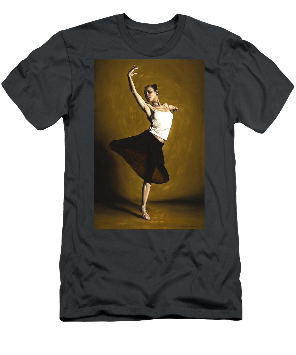 Elegant Men's T-Shirt (Athletic Fit) featuring the painting Elegant Dancer by Richard Young