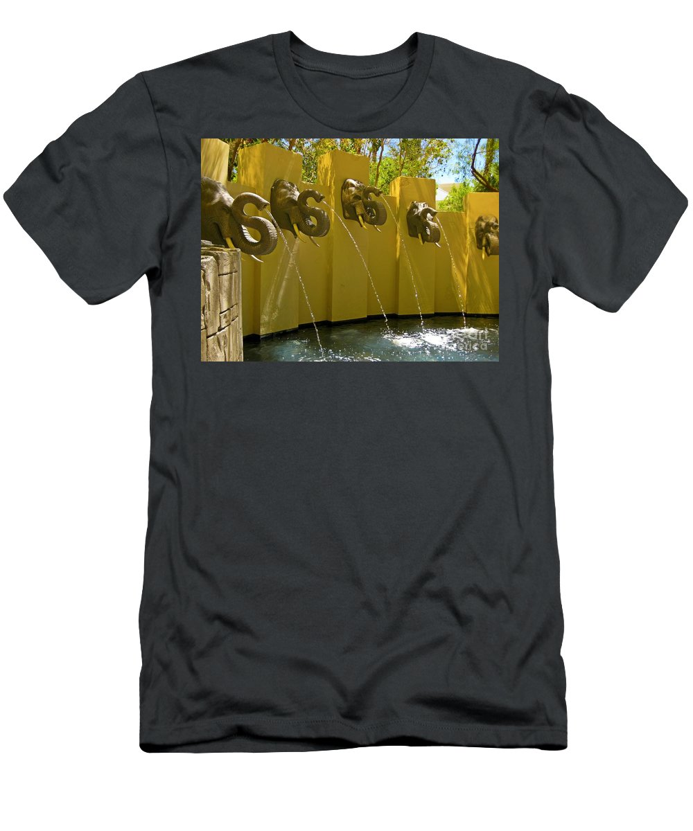 Elephant Fountain Two Men's T-Shirt (Athletic Fit) featuring the photograph Elephant Fountain Two by John Malone