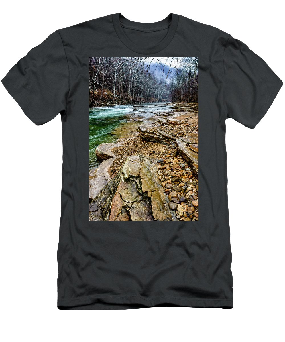 Cherry Falls Men's T-Shirt (Athletic Fit) featuring the photograph Elk River In The Rain by Thomas R Fletcher
