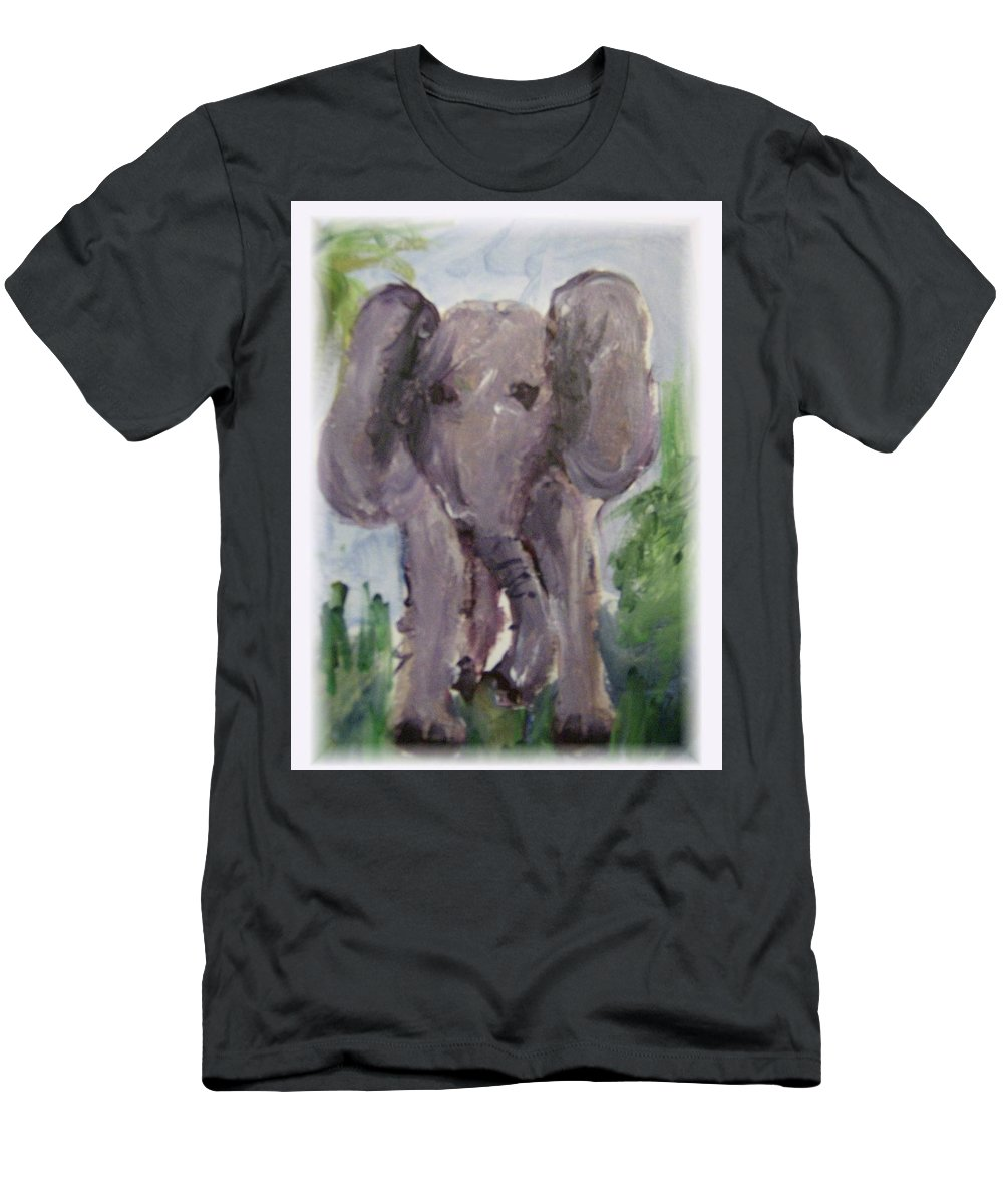 Elephant Men's T-Shirt (Athletic Fit) featuring the painting Elly Phant by Mickey Bissell