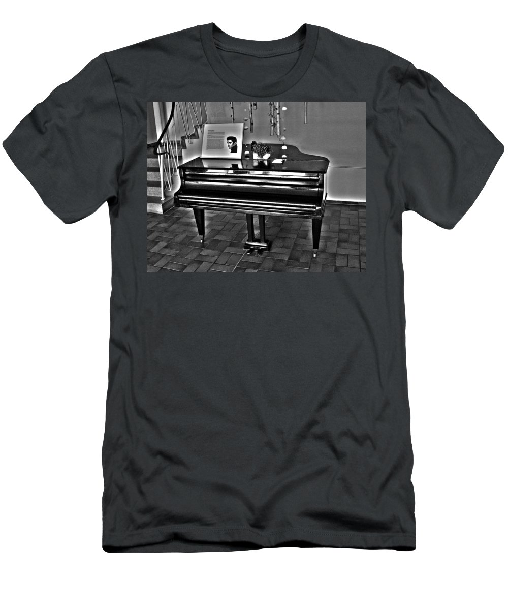 Elvis Men's T-Shirt (Athletic Fit) featuring the photograph Elvis And The Black Piano ... by Juergen Weiss