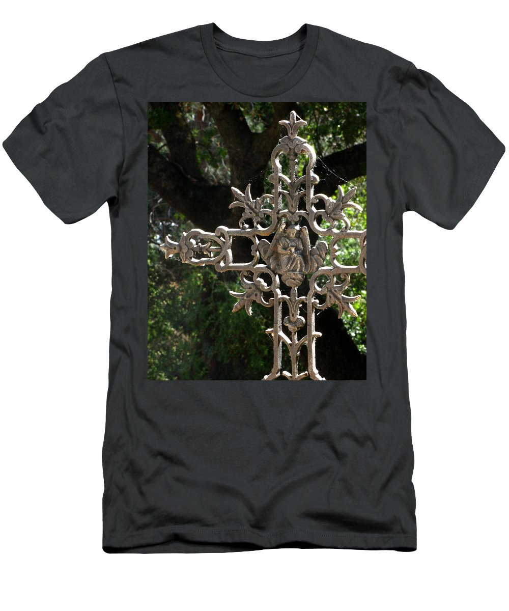 Embellished Cross Men's T-Shirt (Athletic Fit) featuring the photograph Embellished Cross by Peter Piatt