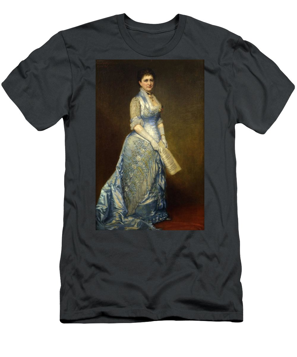 George Peter Alexander Healy (1813 �1894) Men's T-Shirt (Athletic Fit) featuring the painting Emma Cecilia Thursby by MotionAge Designs