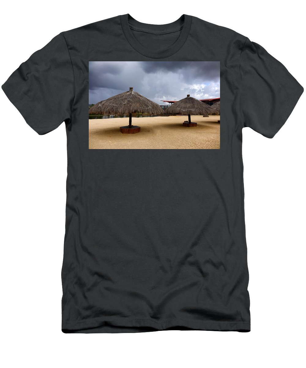 Beach Men's T-Shirt (Athletic Fit) featuring the photograph Empty Beach Due To Incoming Storm by Thomas Baker