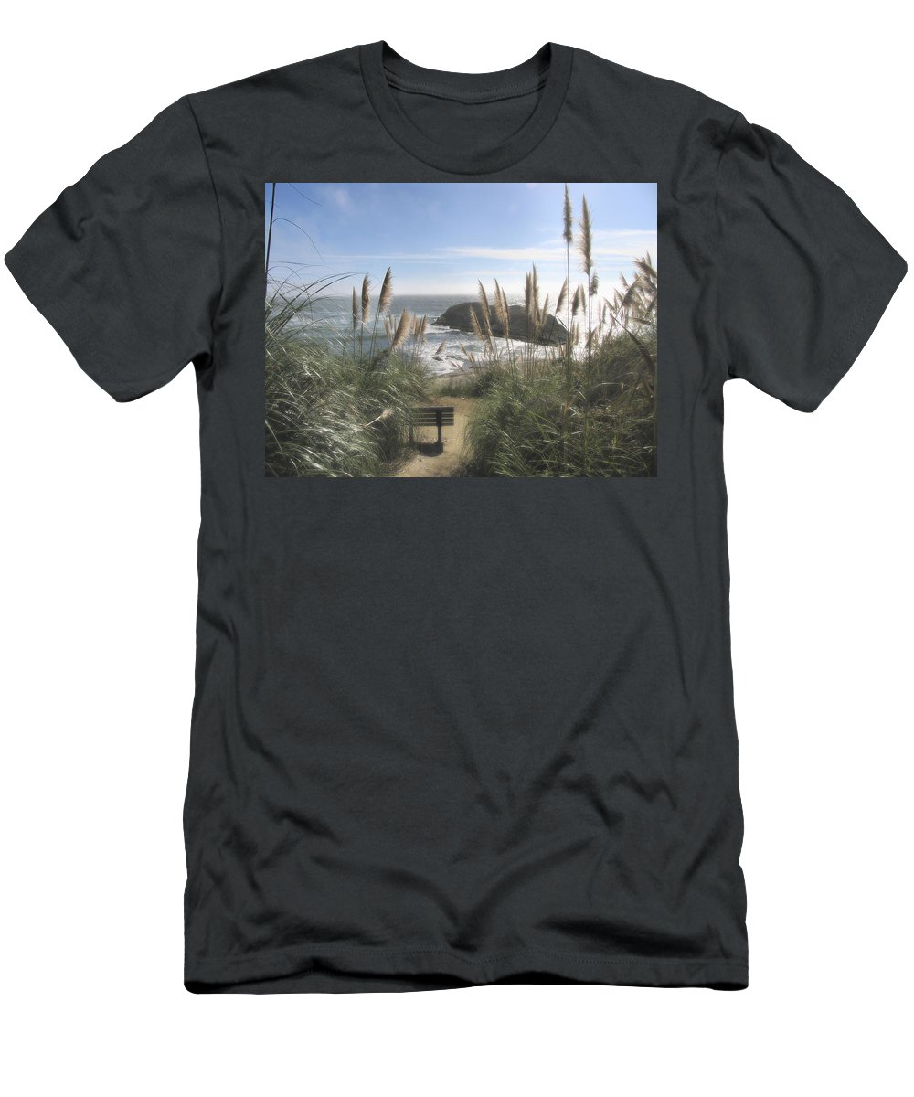 Ocean Men's T-Shirt (Athletic Fit) featuring the photograph Empty Seat by Karen W Meyer
