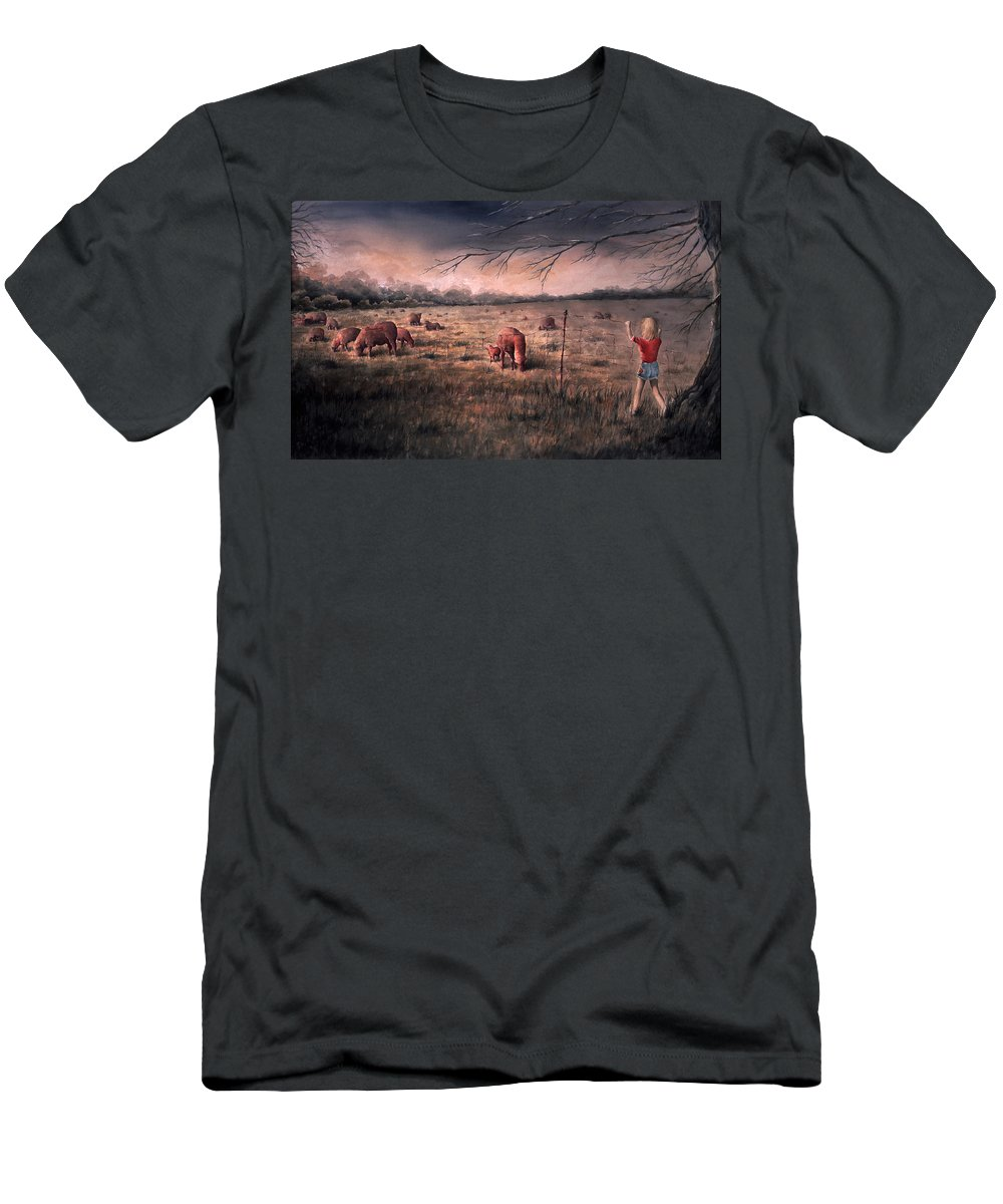Landscape T-Shirt featuring the painting A childhood by William Russell Nowicki