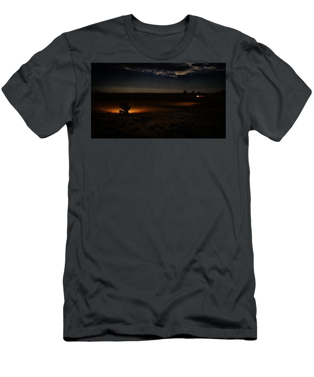 Shadow Men's T-Shirt (Athletic Fit) featuring the photograph Encounter by Chase Brady