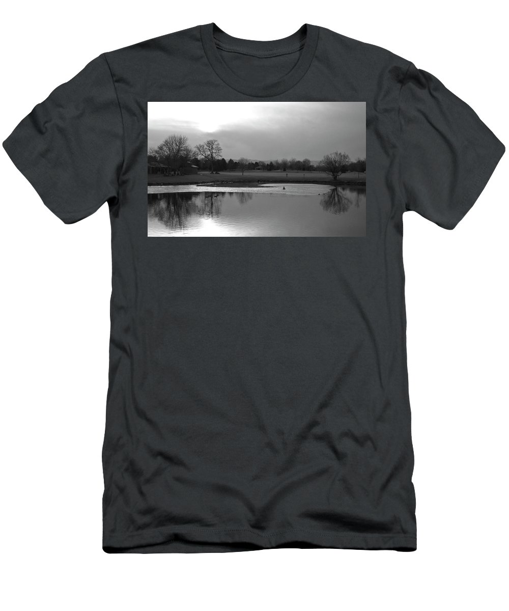 Reflections Men's T-Shirt (Athletic Fit) featuring the photograph End Of Day Reflections by Angus Hooper Iii