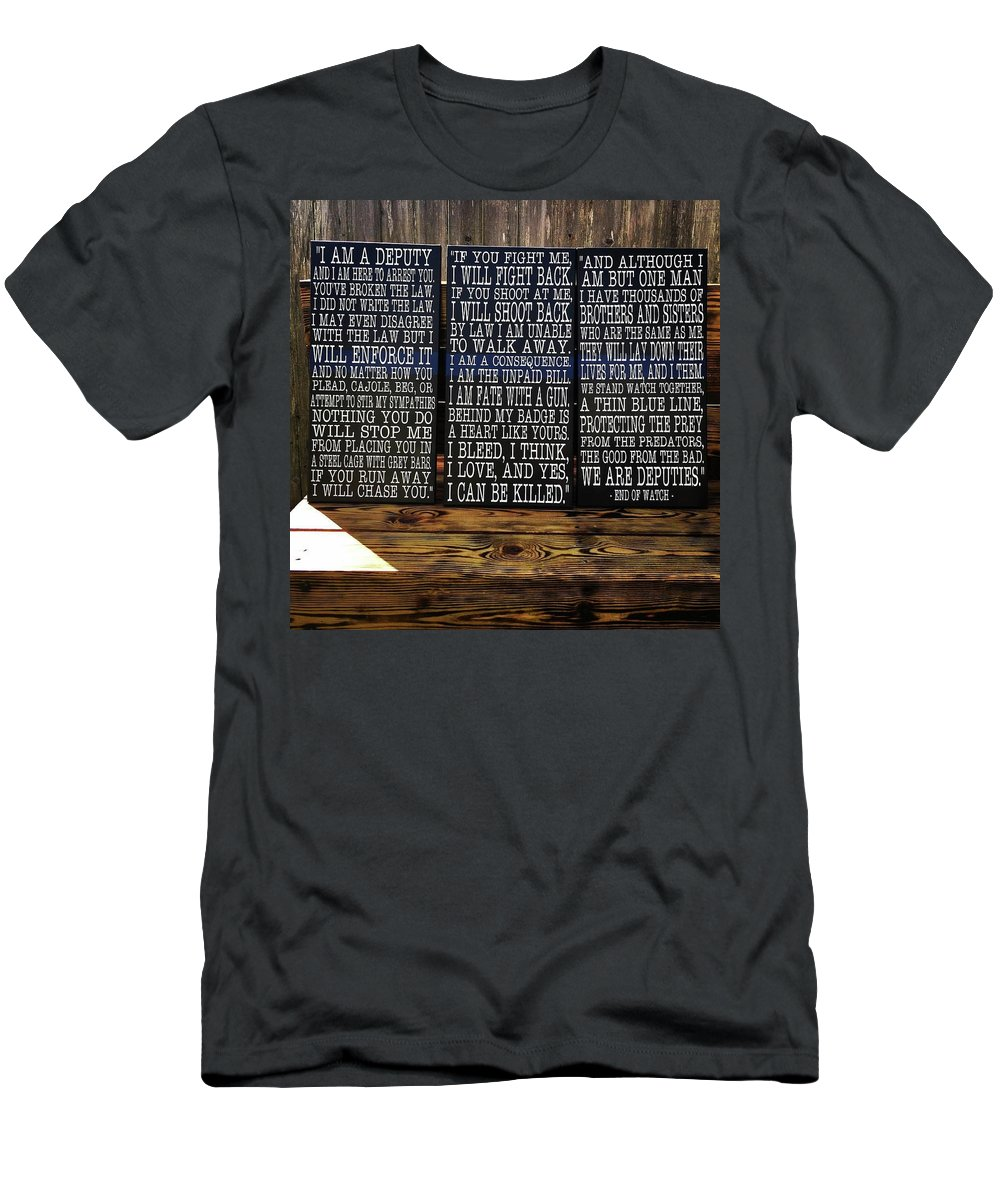 Police Men's T-Shirt (Athletic Fit) featuring the painting End Of Watch by Kazia Brown
