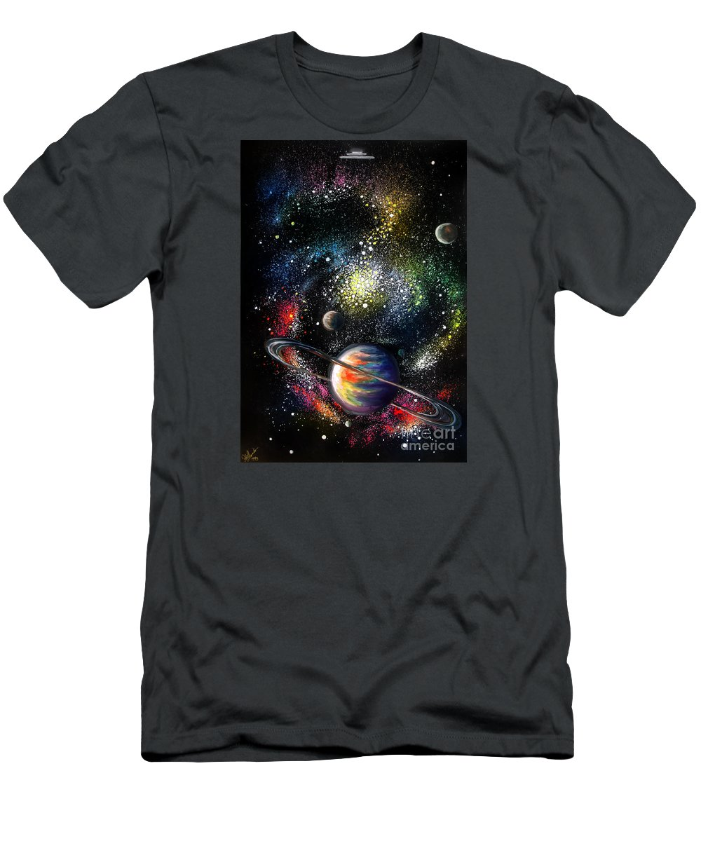 Space Men's T-Shirt (Athletic Fit) featuring the painting Endless Beauty Of The Universe by Sofia Metal Queen