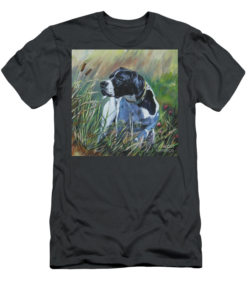 Dog Men's T-Shirt (Athletic Fit) featuring the painting English Pointer In The Field by Lee Ann Shepard