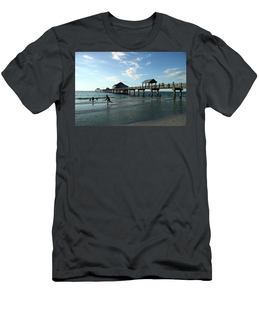 Beach Men's T-Shirt (Athletic Fit) featuring the photograph Enjoy The Beach - Clearwater Pier by Christiane Schulze Art And Photography